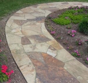 tennessee quarry brown sandstone flagstone steppers natural stone patio walkway Flagstone-Cut Natural Stone