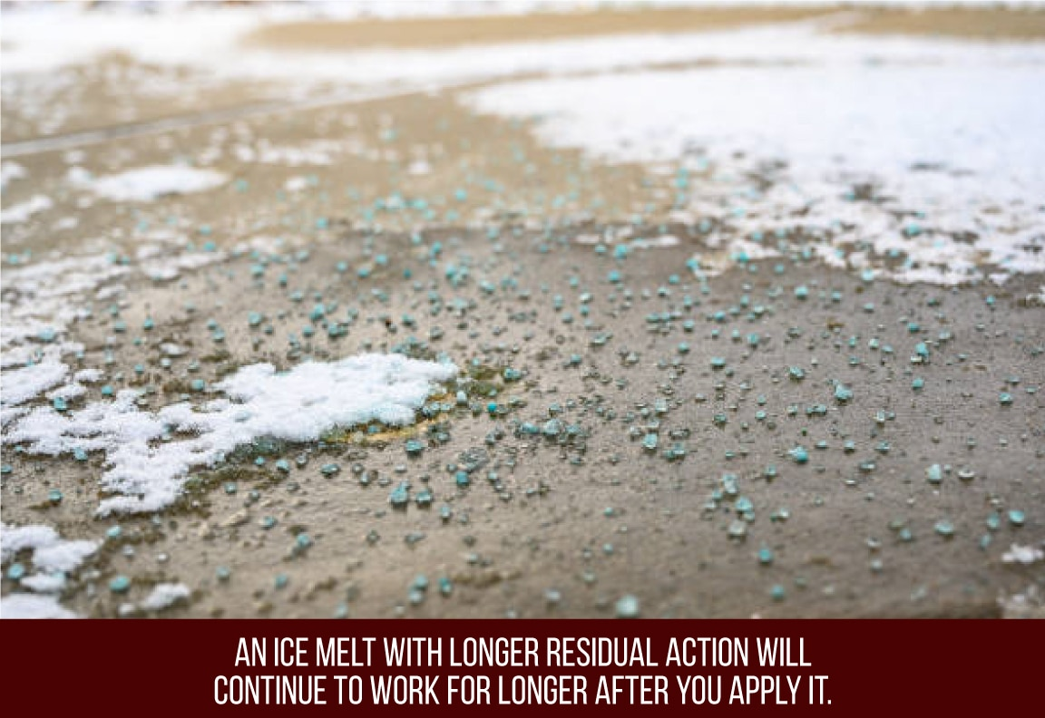 ice melt with long residual action will work for a long time