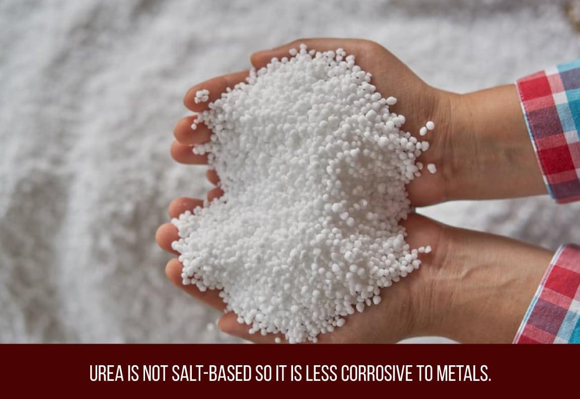 urea is not salt based so it is a non corrosive ice melt